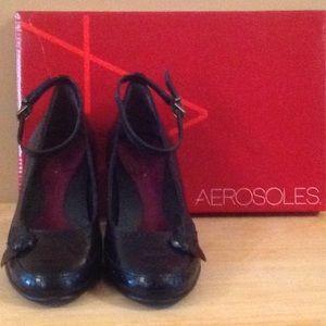 Aerosoles Dressy Black Leather Ankle Strap Pumps